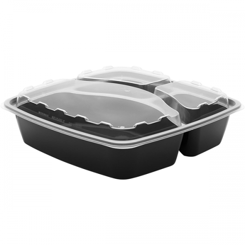 Snap Pak 48 oz 3 Compartment Meal Prep / Food Storage Container
